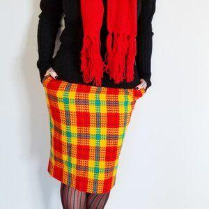 Vintage Plaid Pencil Skirt (S)